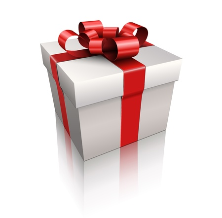 red gift box: Vector gift box with red ribbon and bow.