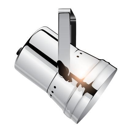 Chrome spotlight, realistic vector illustration. Illustration