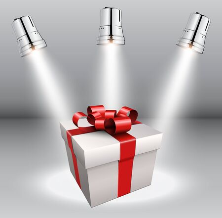 Background with gift box and scenic spotlights. Vector