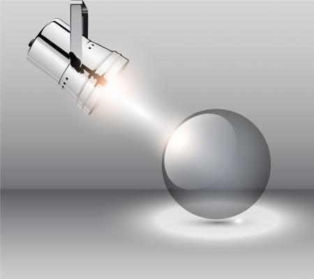 spotlight lamp: Sfondo astratto con riflettori e sfera trasparente, vettore. Vettoriali