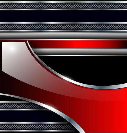 solid silver: Abstract background black metallic red, elegant glossy. Illustration
