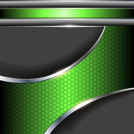 Abstract background with green metallic banner. Vector