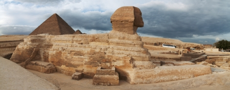 cairo: Egyptian Sphinx and the Great Pyramid of Cairo Egypt Editorial