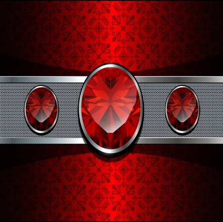 ruby: Background with red gems and oriental ornaments, vector. Illustration