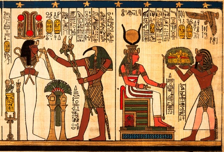 hieroglyph: Egyptian papyrus with antique hieroglyphs