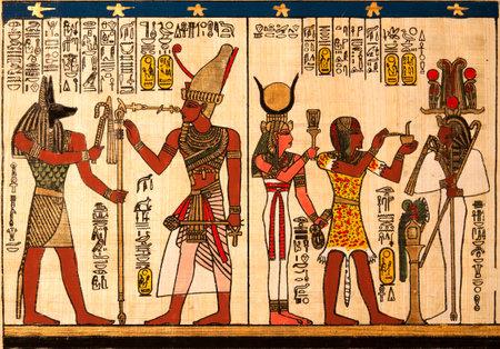 Egyptische papyrus met antieke hiërogliefen Redactioneel