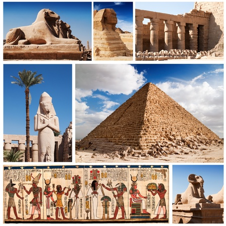 ancient egyptian culture: Egypt, sphinx and pyramids collection.