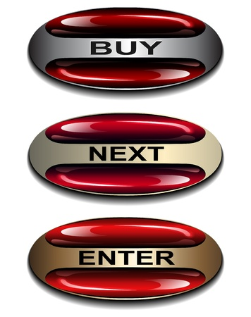 Oval buttons, banners red glosssy for web. Vector