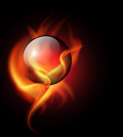 crystals: Background burning crystal ball in vector flames. Illustration