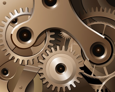 gold watch: Gears and cogwheels from watch mechanism, vector background. Illustration