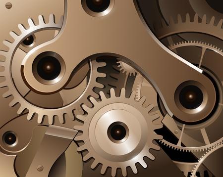 Gears en de tandwielen van de horloge-mechanisme, vector achtergrond.