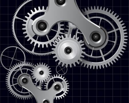 engrenages: Contexte technologique avec des engrenages en m�tal et roues dent�es, des vecteurs.