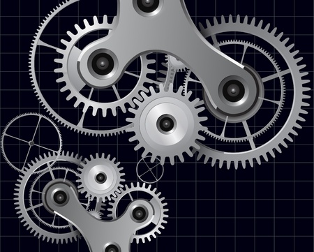 clockwork: Technology background with metal gears and cogwheels, vector. Illustration