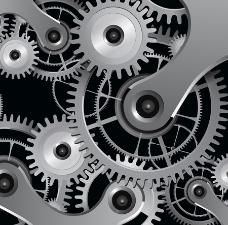 cogs: Abstract background with metallic gears, vector.