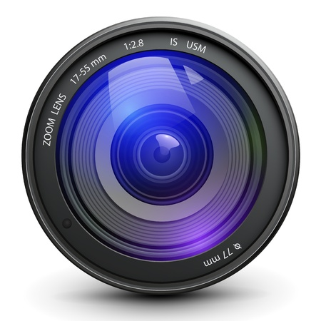 digital camera: Camera photo lens, vector.
