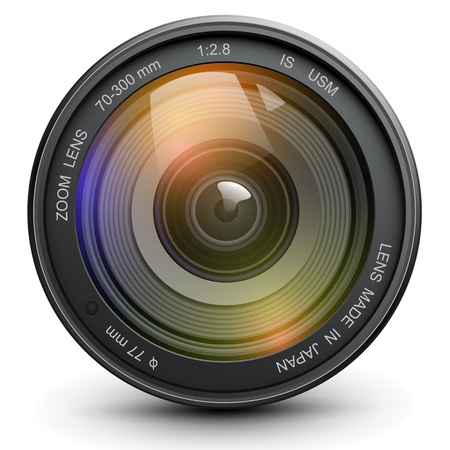 photo realistic: Camera photo lens, vector.