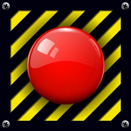 Rossa di allarme lucido sfondo del pulsante, vettore.