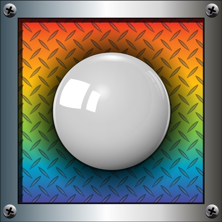 rainbow sphere: White ball background, start party button, vector.