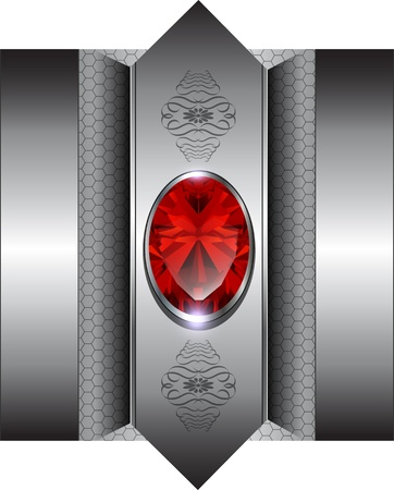 Luxury background with red gems, vector. Vector