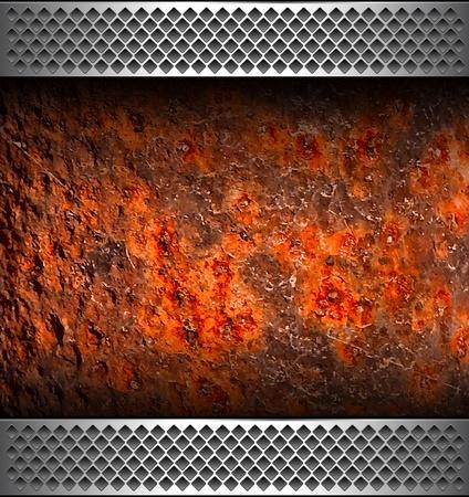 fiambres: Fondo con la textura de metal oxidado, vector.