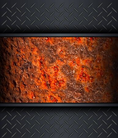 Background with old rusted metal texture, vector. Vector