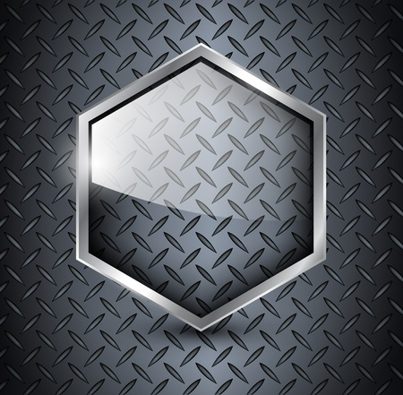 Technology background, diamond plate metallic with glass banner. Vector