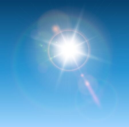light beams: Sun with lens flare, vector background.