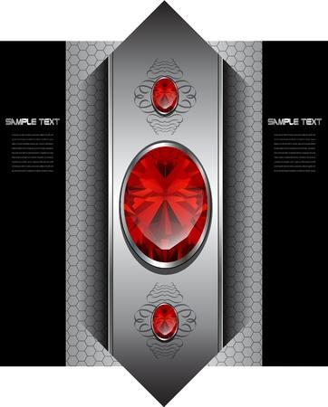 joyas de plata: De lujo de fondo con gemas rojas, vector.