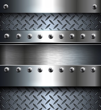 diamond plate: Technology background, metallic with screws. Illustration