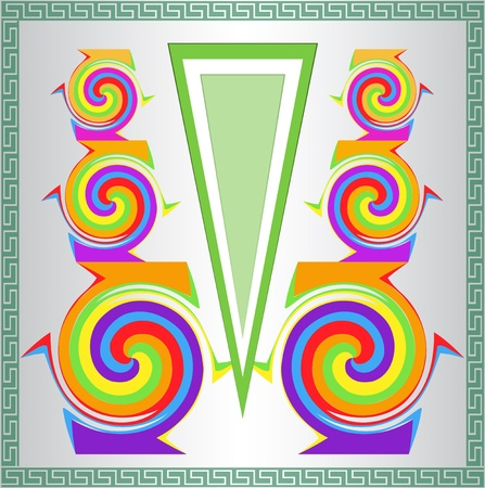 symmetrical design: Abstract background with symmetrical rainbow colored spirals.