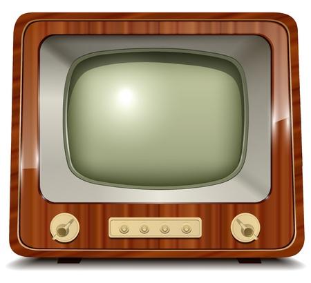 шпон: Старый телевизор, старинные иллюстрации.