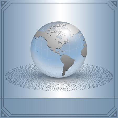 blue sphere: Business background, earth in new technology concept, vector. Illustration