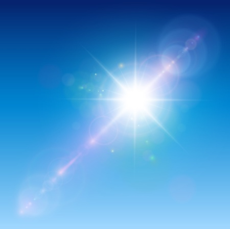 Sun with lens flare, vector background. Vector