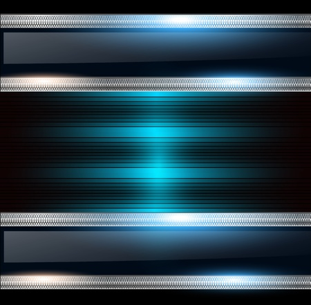 aerodynamic: Abstract background, metallic silver banners with blue lights. Illustration