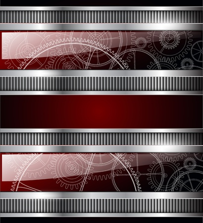Abstract background with metallic banner and machinery gears inside. Vector