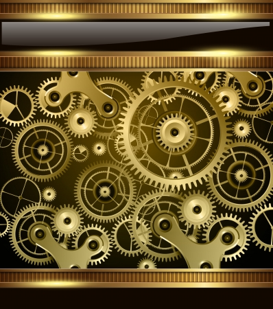 clock gears: Abstract technology background gold machinery, vector. Illustration