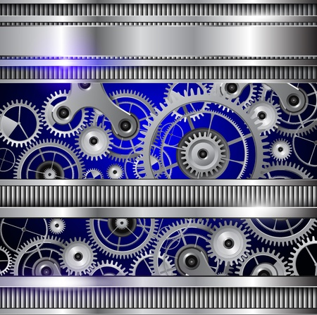 Abstract technology background, silver metallic machinery gears.