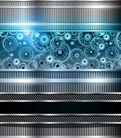 clockwork: Abstract technology background blue metallic machinery, vector. Illustration