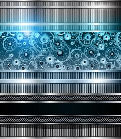 Resumen de tecnología fondo azul metálico, maquinaria, vector.