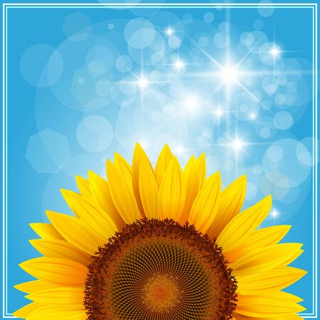 Background with sunflower over blue sky. Vector