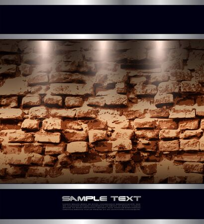Background with brick wall and banners for text Vector