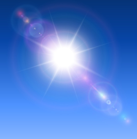 Sun with lens flare background. Vector