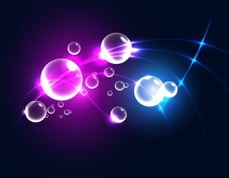 Abstract background with glowing bubbles, vector illustration Vector