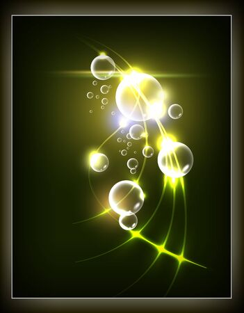 Abstract background, fantasy glowing lines and balls. Vector