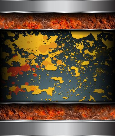 Background rusted metal with paints remains and splashes, vector.