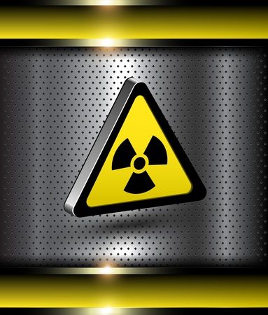 atomic: Nuclear danger warning background with 3d radiation hazard icon.