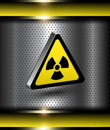 nuclear bomb: Peligro nuclear de fondo de advertencia con el icono 3d peligro de radiaci�n. Vectores