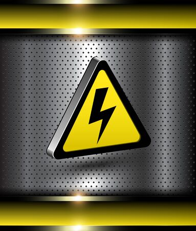 Background with 3d high voltage danger icon. Vector
