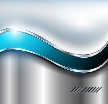 blue metallic background: Abstract silver background, metallic with blue wave. Illustration