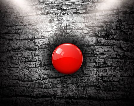 bark background: Grunge background with red alarm button, vector illustration.